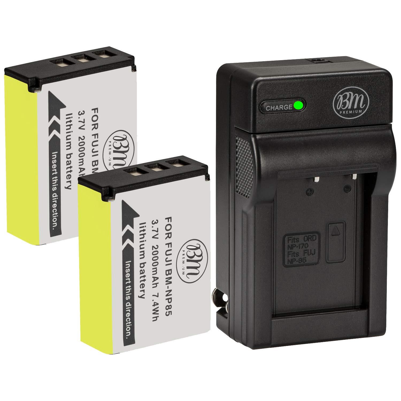 BM Premium 2-Pack of NP-85 Batteries and Charger Kit for FujiFilm FinePix S1 SL240 SL260 SL280 SL300 SL305 SL1000 Digital Camera