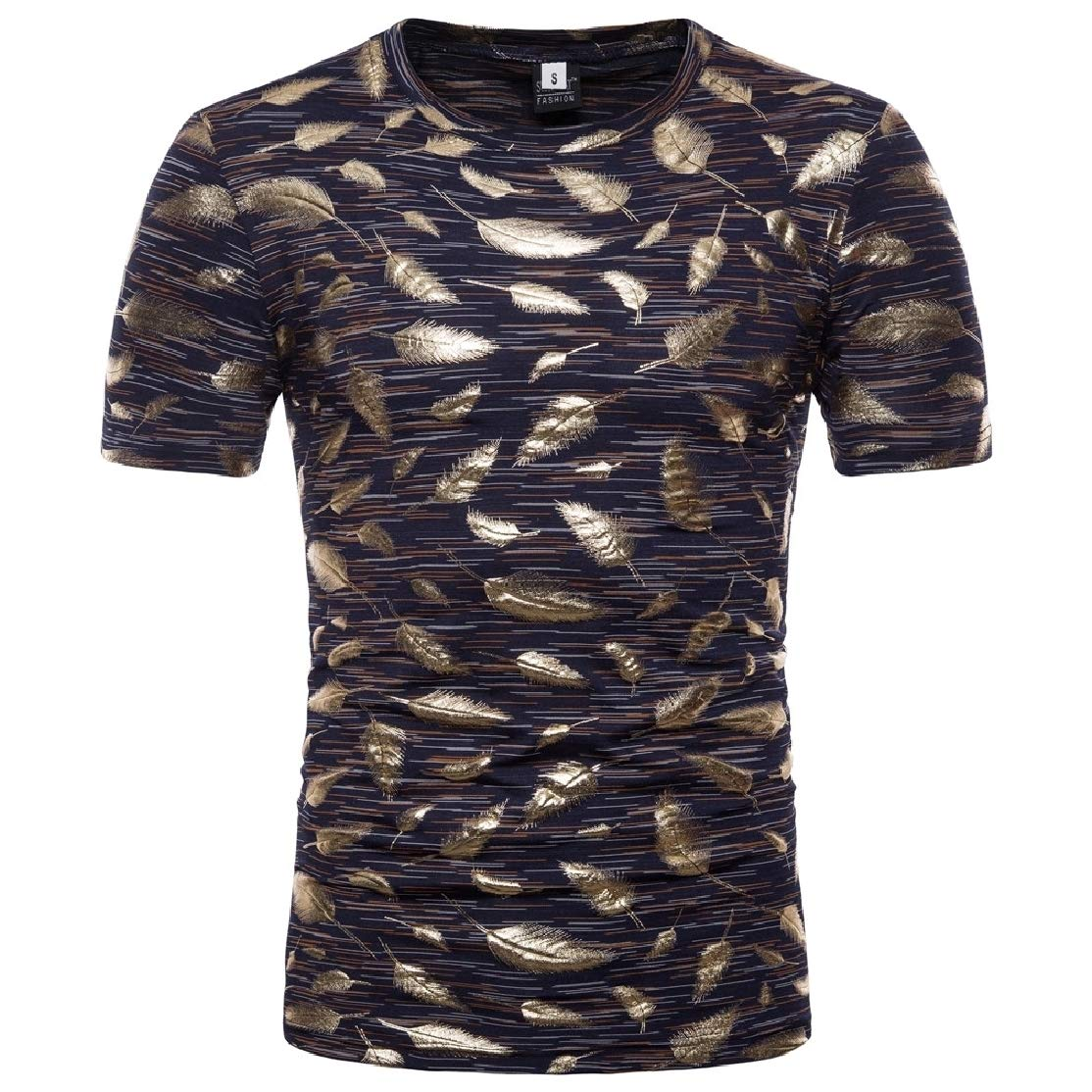 Colourful Mens Short-Sleeve Floral Spring Plus Size Gilded T-Shirt Top