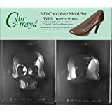 Cybrtrayd H166AB Large 3D Skull Chocolate Candy Mold Bundle with 2 Molds and Exclusive Cybrtrayd Copyrighted 3D…