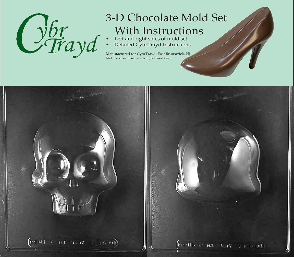 Cybrtrayd H166AB Large 3D Skull Chocolate Candy Mold Bundle with 2 Molds and Exclusive Cybrtrayd Copyrighted 3D Chocolate Molding Instructions by CybrTrayd