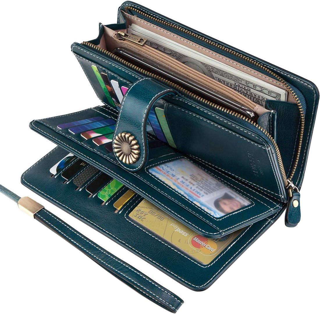 SENDEFN Womens Genuine Leather Wallets Vintage RFID Protection Zipper Long Purse