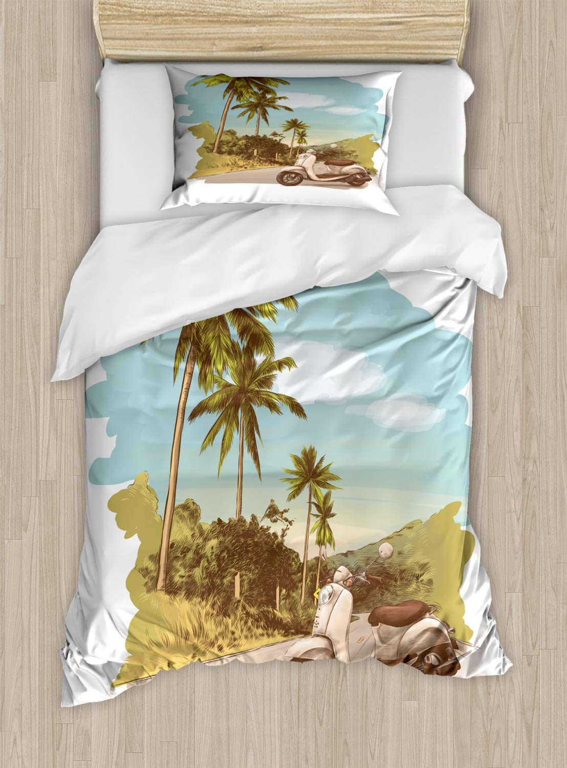 Retro Duvet Cover Set, Bed Sheets, Faded Effect Vintage Scooter Stands on The Road Jungle with Palm Trees on The Edges, Decorative 3 Piece Bedding Set with 2 Pillow Sham, Queen Size, Multicolor by SLobyy