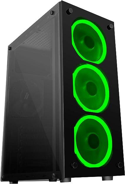 Mars Gaming MCG, caja de PC ATX, cristal templado, 3 ventiladores ...