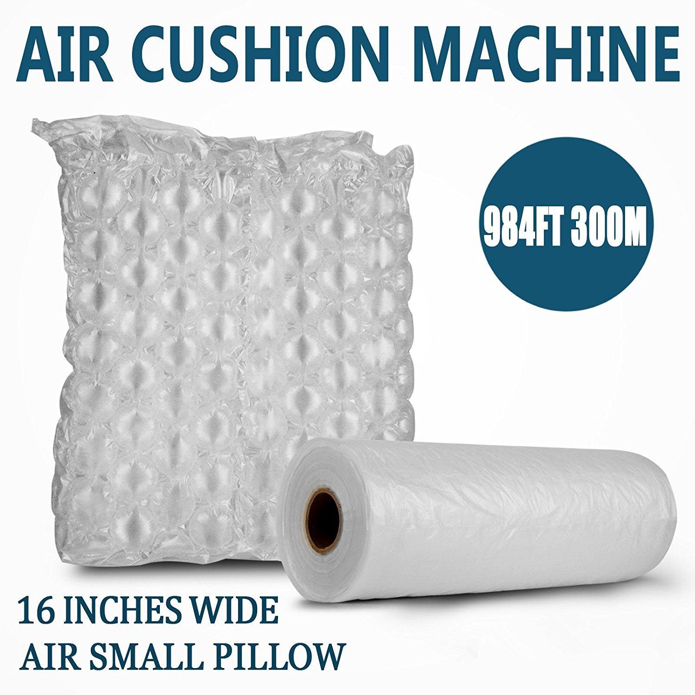 Happybuy Air Cushion Films 984Ft Length Air Pillow Bubble Bags Film 16 Inch Width PE Air Cushion Wrap Machine Film Roll Bubble Bags Film for Packing Shipping Cushioning(Film)