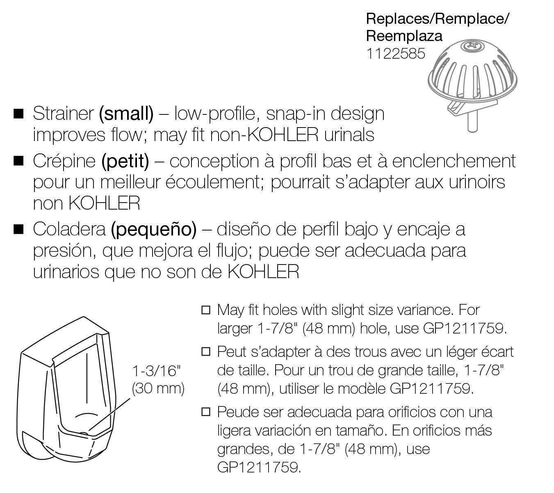 """KOHLER GP1217811 Part 1 3//16/"""" Snap In Urinal Strainer Unfinished"""