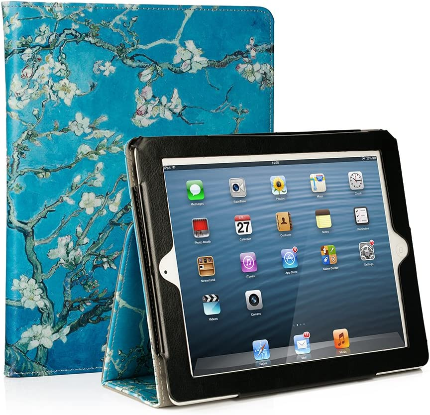 RUBAN Folio Case for iPad 2 3 4 (Old Model) 9.7 inch Tablet - [Corner Protection] Slim Fit Smart Stand Protective Cover Auto Sleep/Wake, Apricot Blossom