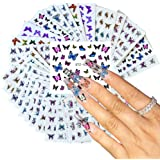 Comdoit 30 Sheets Butterfly Nail Art Stickers Colorful Butterflies for Nails Art Design Water Transfer Decals Butterfly…