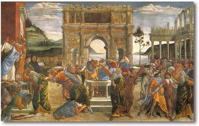 Cuadro Decoratt: El castigo de los rebeldes - Botticelli 77x48cm ...