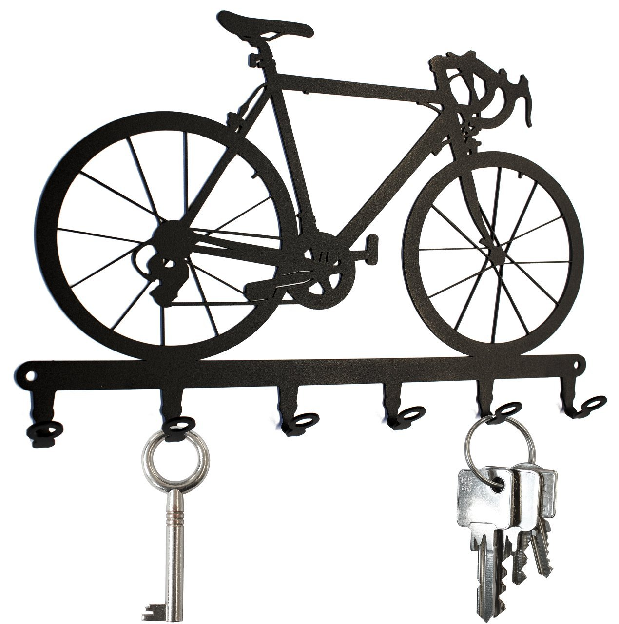 Key holder / hook Racing Bike - key hooks for wall, hanger - 6 hooks black metal (black) steelprint.de