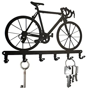 steelprint.de Key Holder/Hook Racing Bike - Key Hooks for Wall, Hanger - 6 Hooks Black Metal (Black)