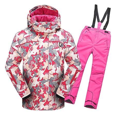 LPATTERN Traje de Esquí para Niños/Niñas 2 Pieza Chaqueta Acolchada + Pantalones con Tirante de Nieve: Amazon.es: Deportes y aire libre