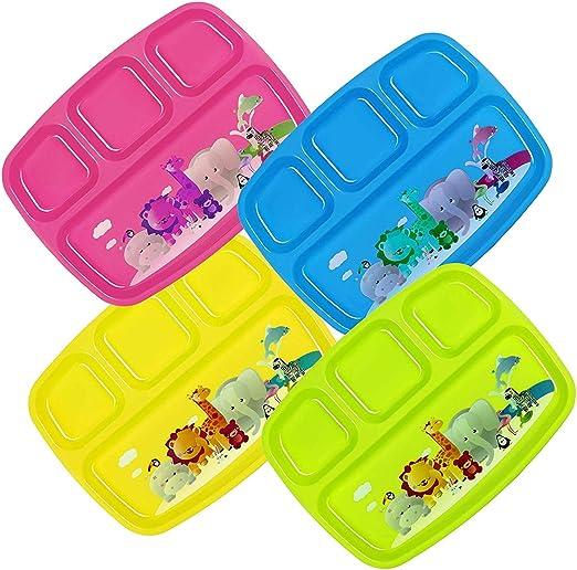 Amazon.com: Plaskidy - Platos de plástico para niños con 4 ...