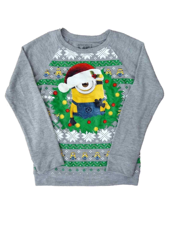 Amazon.com: Despicable Me Girls Gray Minion Christmas Sweater ...