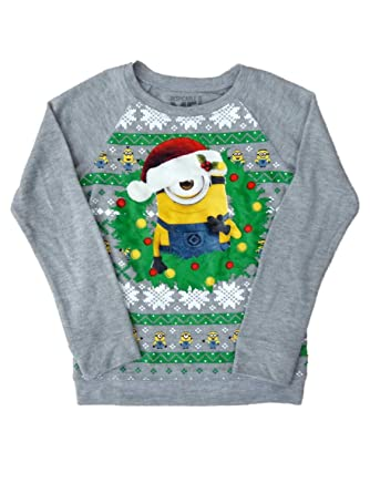 despicable me girls gray minion christmas sweater holiday pullover sweat shirt - Minion Christmas Shirt