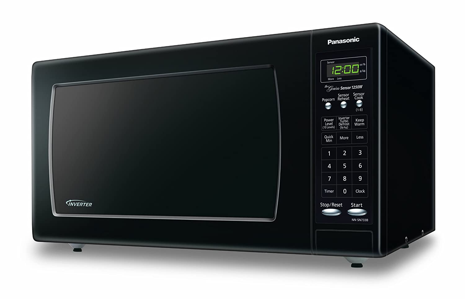 Panasonic NN-SN733BAZ Black 1.6 Cu. Ft. Countertop Microwave Oven with Inverter Technology