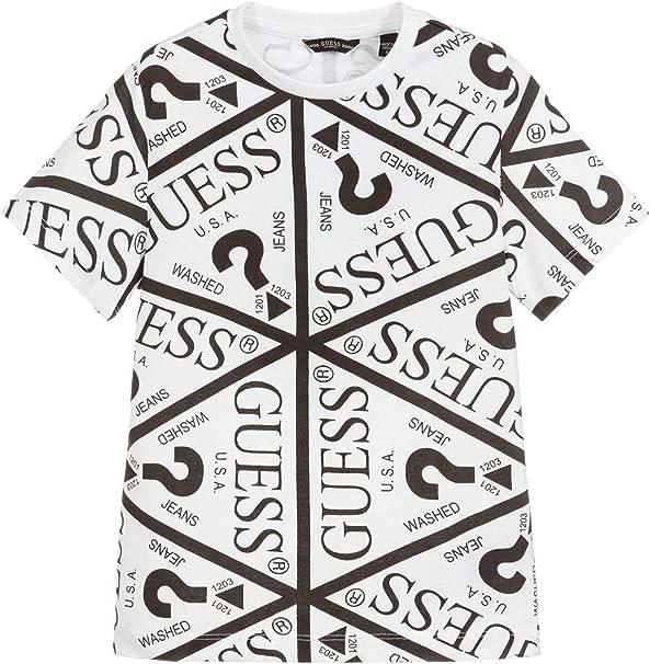 Guess - Camiseta de algodón blanco con logotipo All Over para niño ...