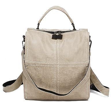 17226c7988 Amazon.com  Leparvi Women Backpack Purse Leather Shoulder Bag Square  Rucksack Vintage Satchel(Beige)  Clothing