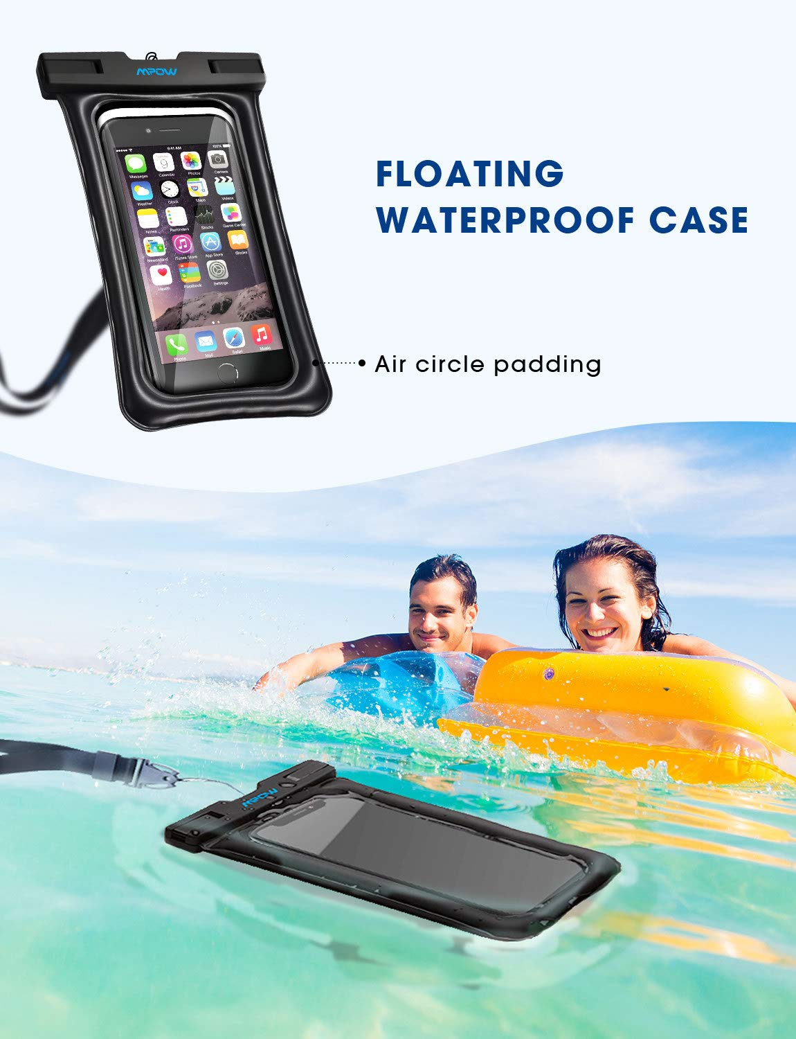 brand new 813b7 66997 Mpow 084 Waterproof Phone Pouch Floating, IPX8 Universal Waterproof Case  Underwater Dry Bag Compatible iPhone Xs Max/Xr/X/8/8plus/7/7plus Galaxy ...