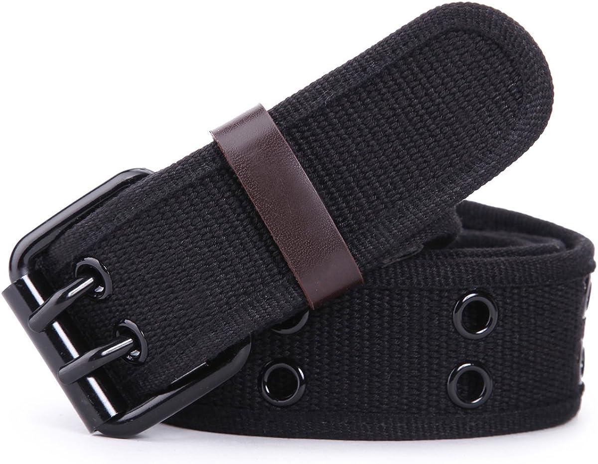Leathario Cinturón de Hebilla Doble Metal de Lona para Hombre y Mujer Cinturón Táctico Militar Ajustable de la Correa Ocasional longitud 112cm