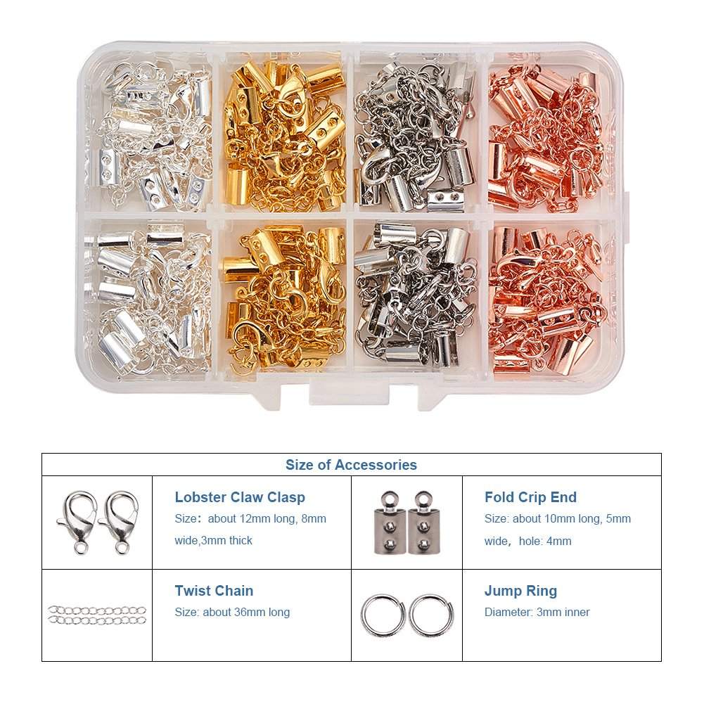 1 Box Alloy Lobster Claw Clasps Iron Ribbon Ends with Twist Extender Chains Kits