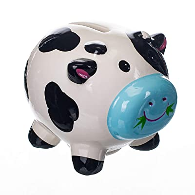 Gift Craft Dairy Cow Black & White 4 x 3.5 Inch Ceramic Decorative Coin Bank : Baby