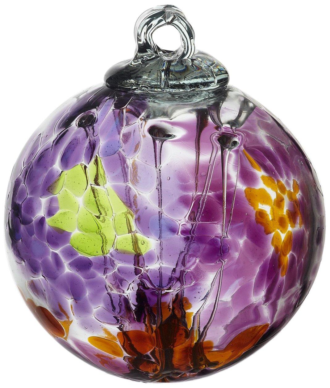 Kitras Art Glass Decorative Spirit Ball, 6-Inch, Burgundy