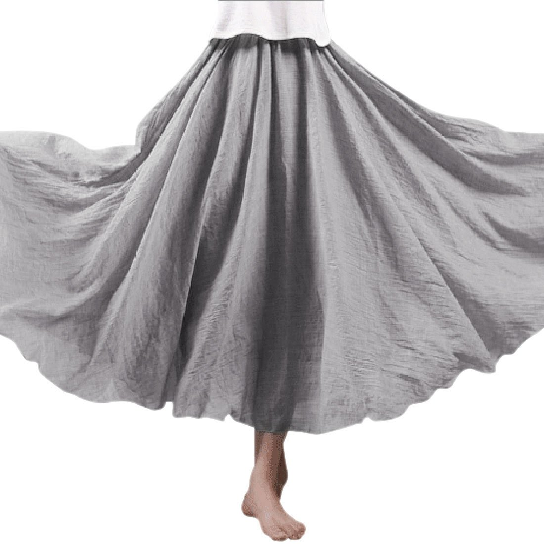 Ezcosplay Women Bohemian Cotton Linen Double Layer Elastic Waist Long Maxi Skirt 95CM Light Gray
