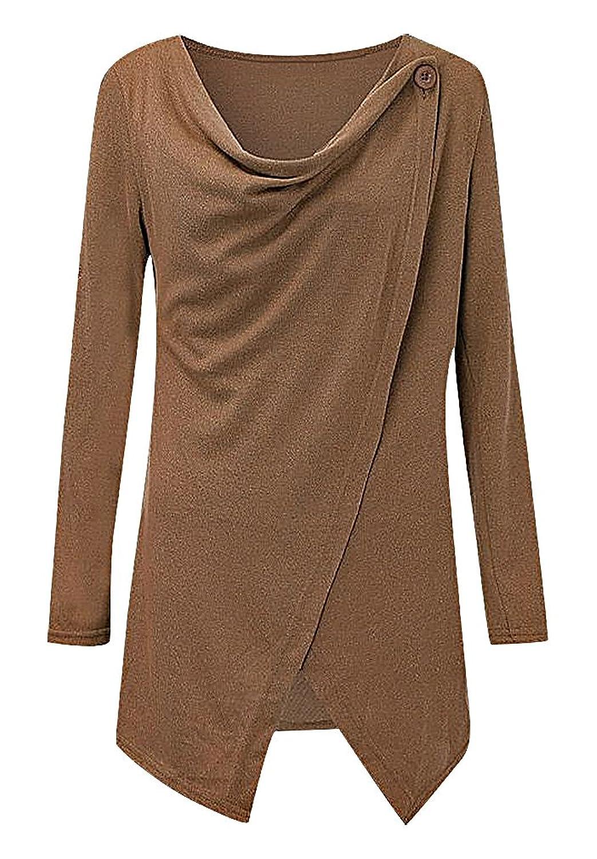 Maze, Women's Long Sleeve Cross Wrap Button Detail Uneven Hem Cardigan Pullover