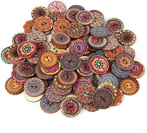 Wood buttons 1 Inch Assorted Vintage Qincling 100 PCS Wooden Buttons For Crafts