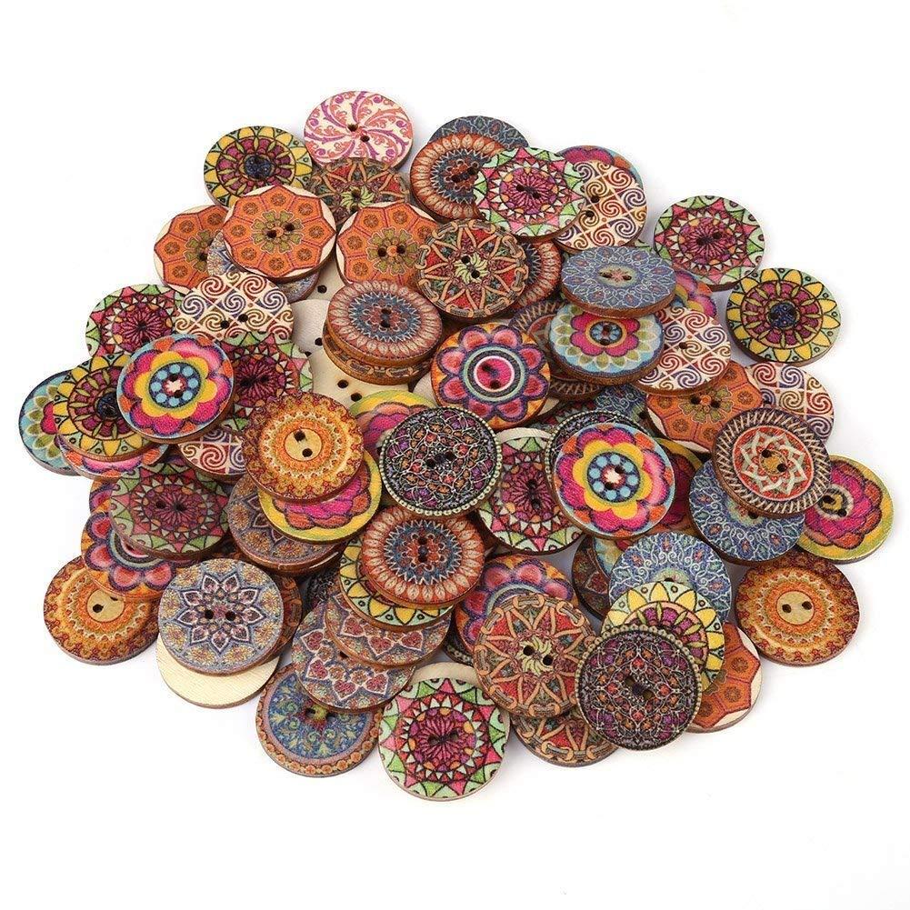 100 pezzi 25 mm colore misto liscio bottoni in legno vintage 2 fori bottoni in legno per la decorazione del mestiere di cucito fai da te o notebook Hilitand