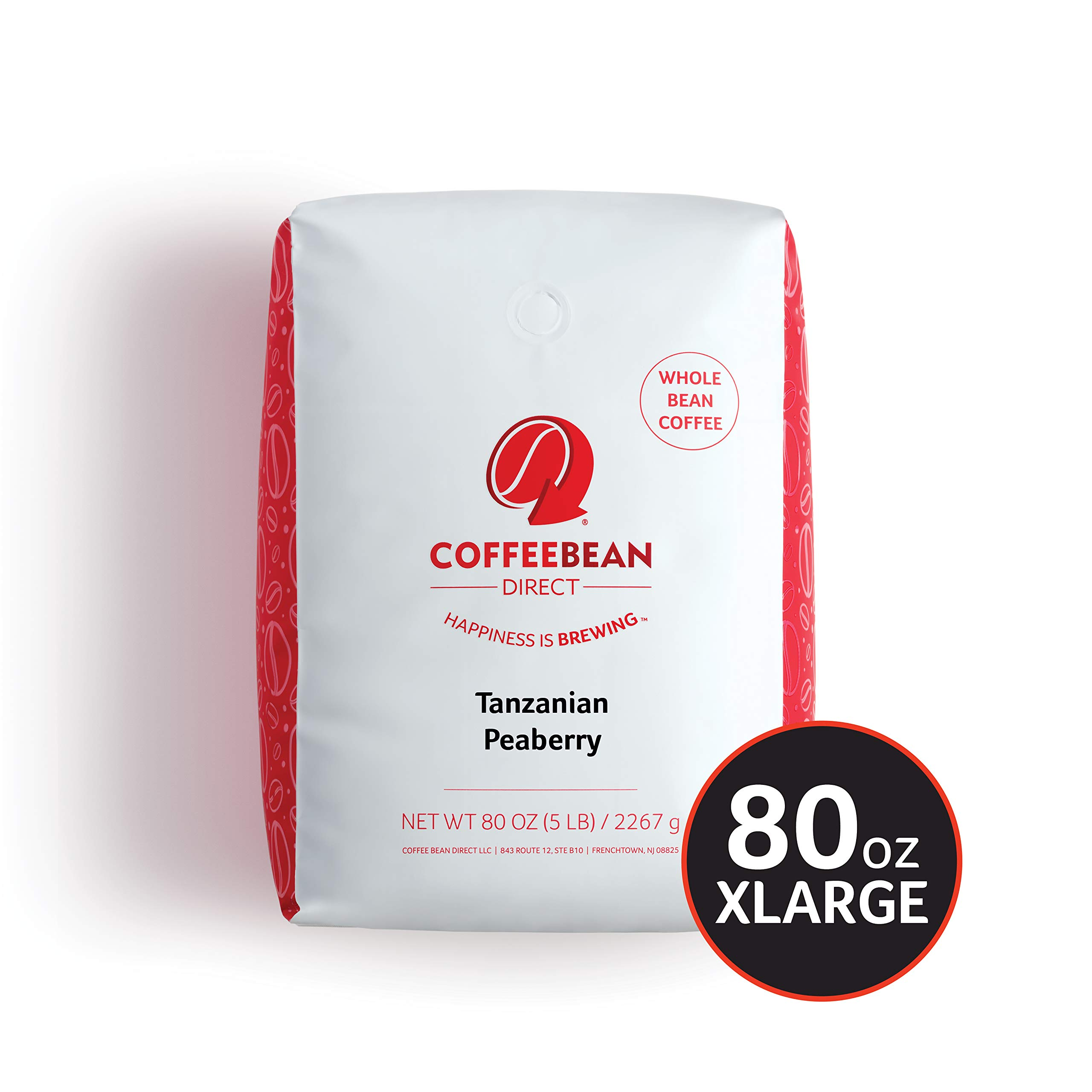Tanzanian Peaberry, Whole Bean Coffee, 5-Pound Bag by Coffee Bean Direct