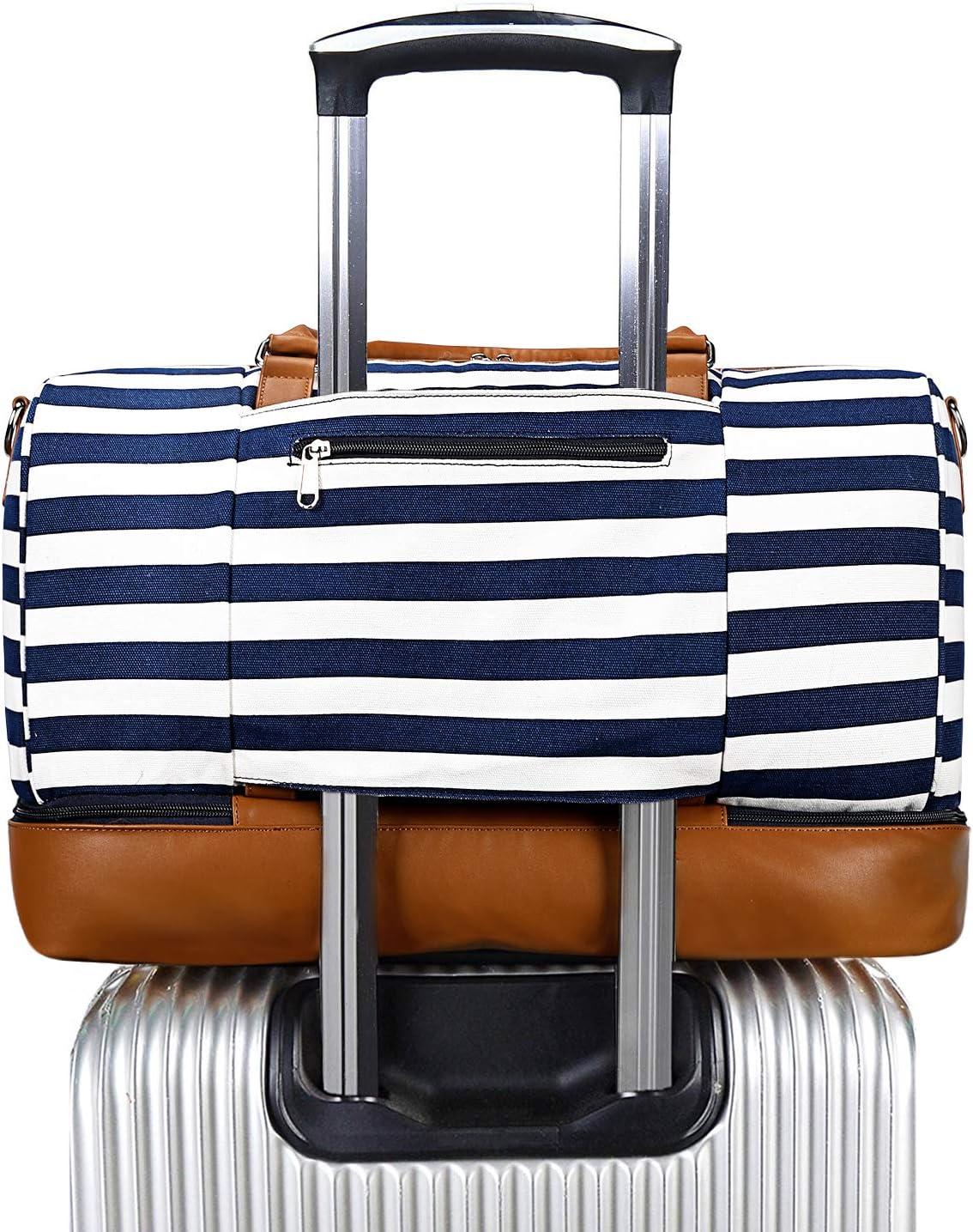 S-ZONE Sacs de Voyage Toile PU Cuir Garniture Sangle Voyage Week-End Nuit/ée Bagage /à Main Duffel Sac /à Main avec Compartiment /à Chaussures