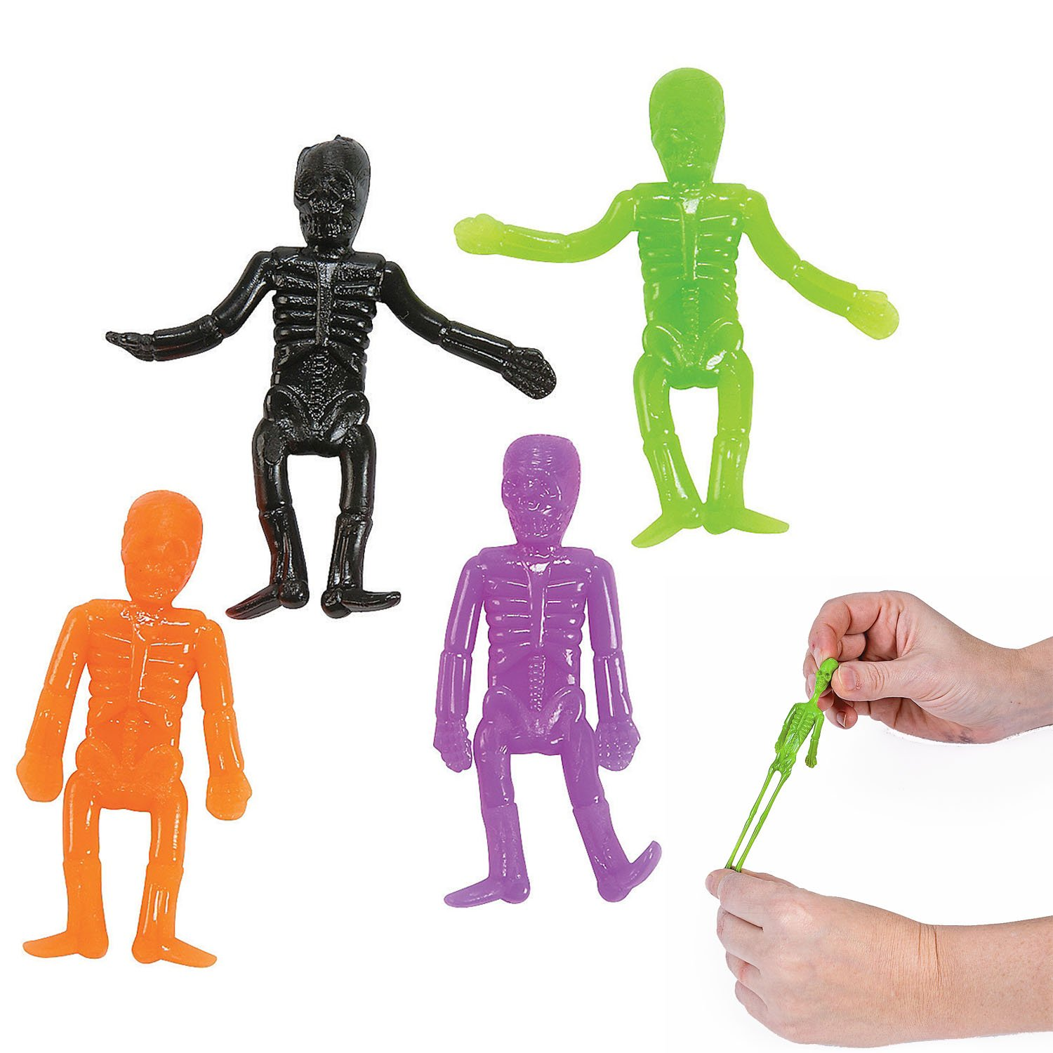 Halloween Neon Stretchable Skeletons 48 pieces