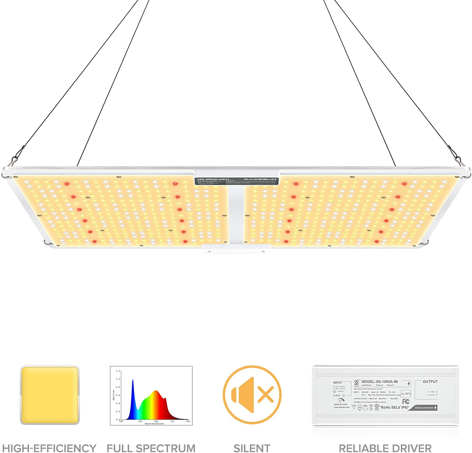 MAXSISUN 2020 Latest QB Style PB 2000 LED Grow Light, High PPFD Rating Sunlike Full Spectrum LED Grow Lights for Indoor Plants Veg and Bloom, Plant Growing Lamps to Cover a 3x3.5 ft Flowering Space