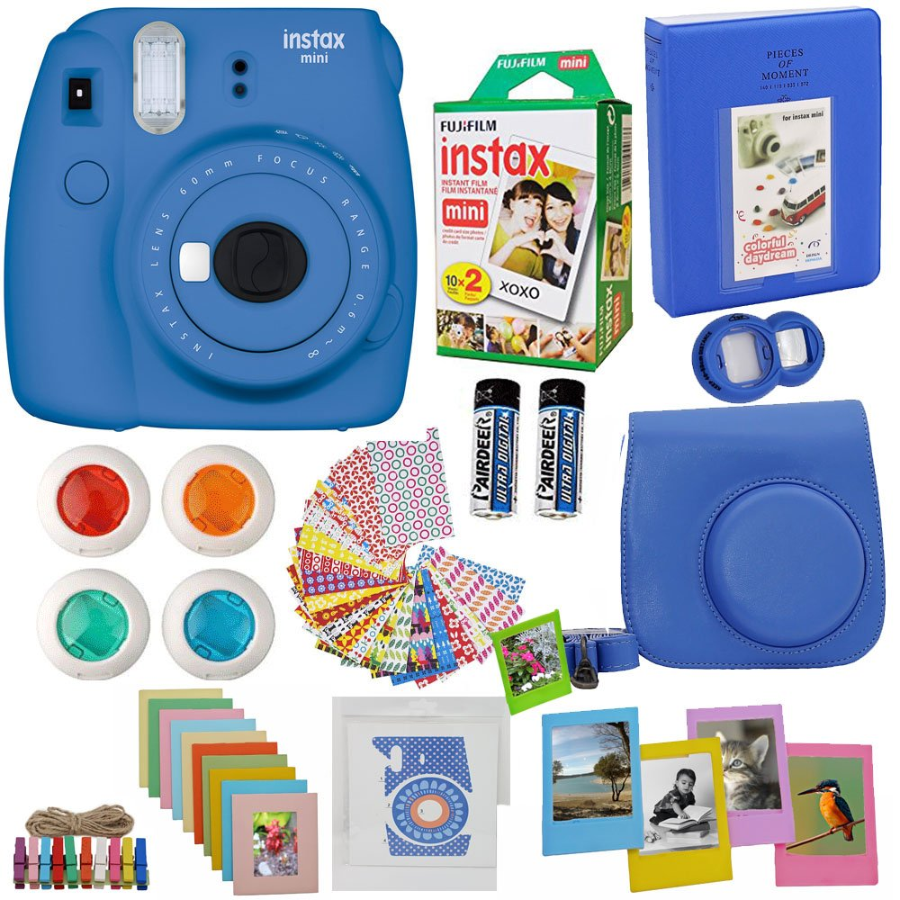 Fujifilm Instax Mini 9 Instant Camera Cobalt BLUE + Fuji Instax Film Twin Pack (20PK) + Blue Camera Case + Frames + Photo Album + 4 Color Filters And More Top Accessories Bundle by Abesons