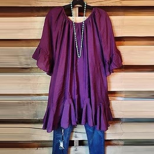 Bestow Moda para Mujer Camisa con Volantes Bohemia Camisa de Manga Corta Top Tops Irregulares Blusa: Amazon.es: Ropa y accesorios