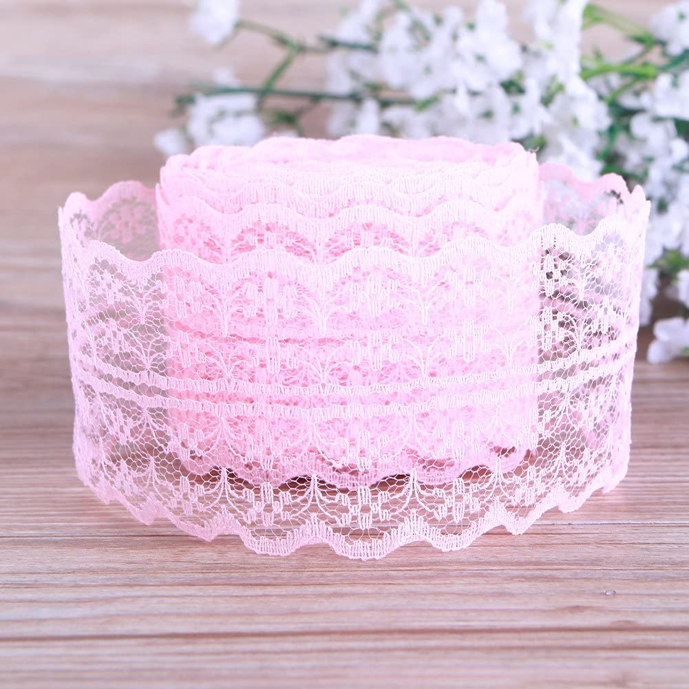 TR.OD 4.5CM 10 Yards Retro Embroidered Lace Trim Ribbon DIY Craft Sewing Decor Light Pink