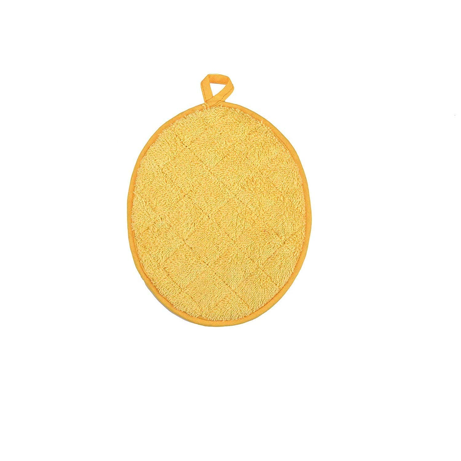 AP Collection Terry Cotton Heat Resistant Oval Pot Holder for Cooking and Baking Size 9.5 x 7.5 Inches (Pack of 5, Yellow)