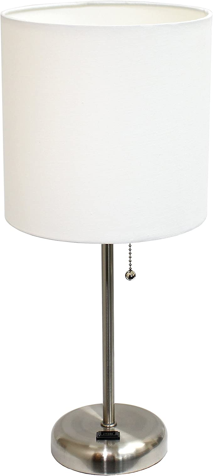 Limelights Lt2024 Wht Stick Lamp With Charging Outlet And Fabric Shade White Table Lamps Amazon Canada