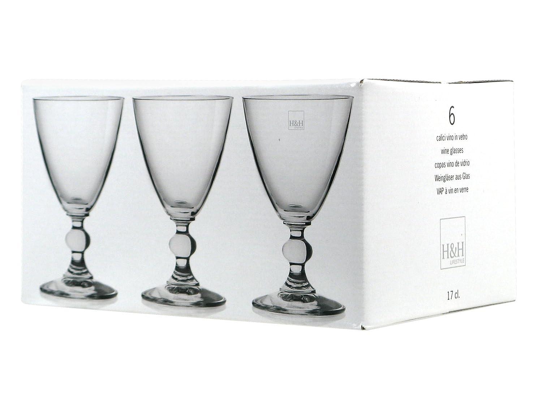 H & H 1183517 juego de 6 copas Cristal Splendor Transparente Vino ...