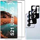 [2+2 Pack] Galaxy S21 Ultra Screen Protector, 9H Tempered Glass, Ultrasonic Fingerprint Compatible,3D Curved, HD Clear for Sa