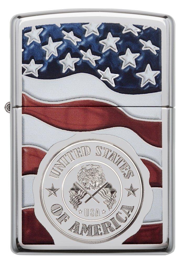 Zippo America Stamp on Flag Pocket Lighter, High Polish Chrome by Zippo (Image #2)