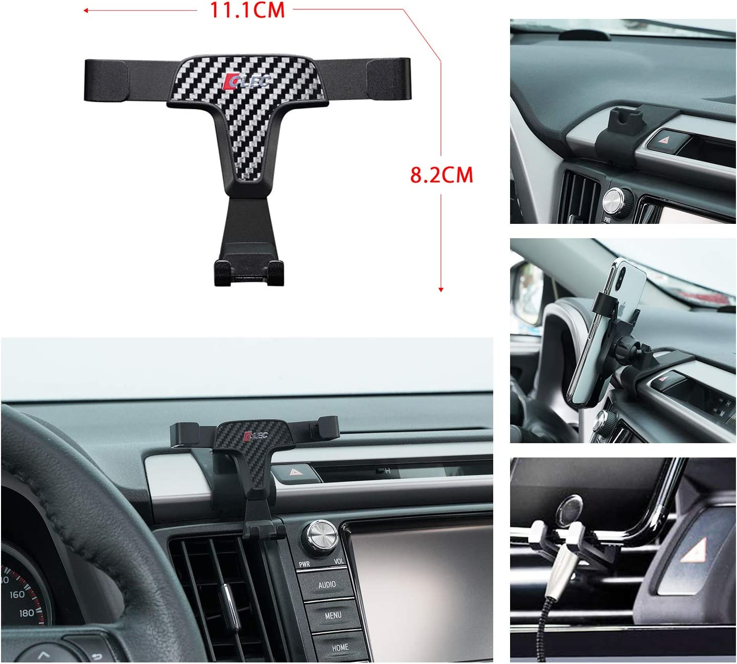 R RUIYA 2016 2017 2018 Toyota RAV4 Smartphone Cell Phone Mount Holder with Adjustable Air Vent Clip Cover Fit for 3.5-6.0 Inches Phone