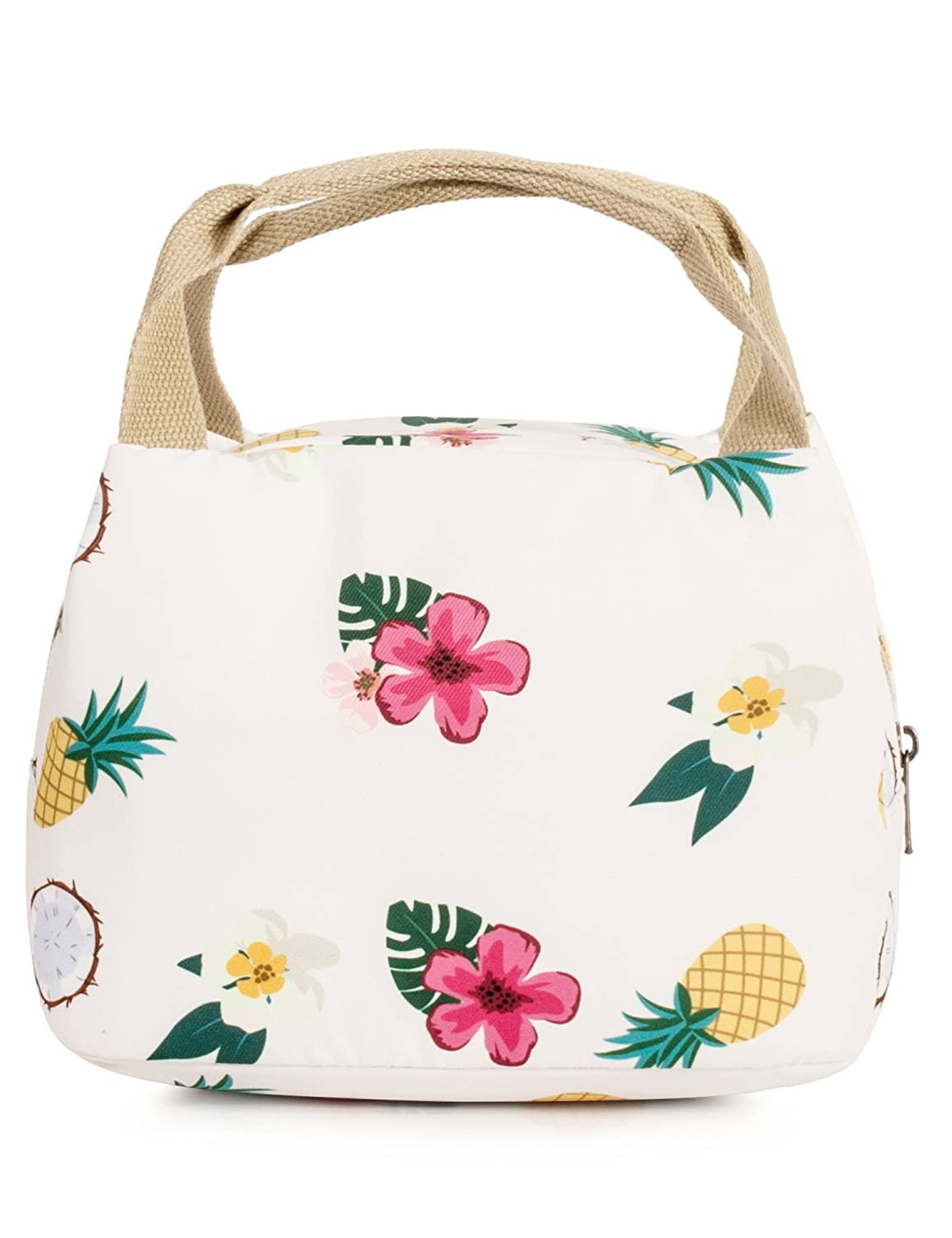 fea8b996a774 Leaper Reusable Pineapple Lunch Bag Insulated Lunch Tote Bag Lunch Box Beige