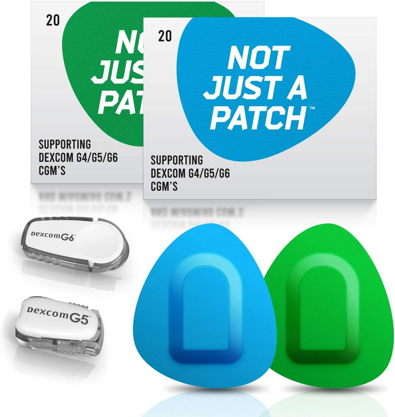 NOT JUST A PATCH Bundle of Two: Blue and Green Patches for Dexcom G5 G6 & MiaoMiao Sensors. 10+ Days - Long Lasting - Hypoallergenic