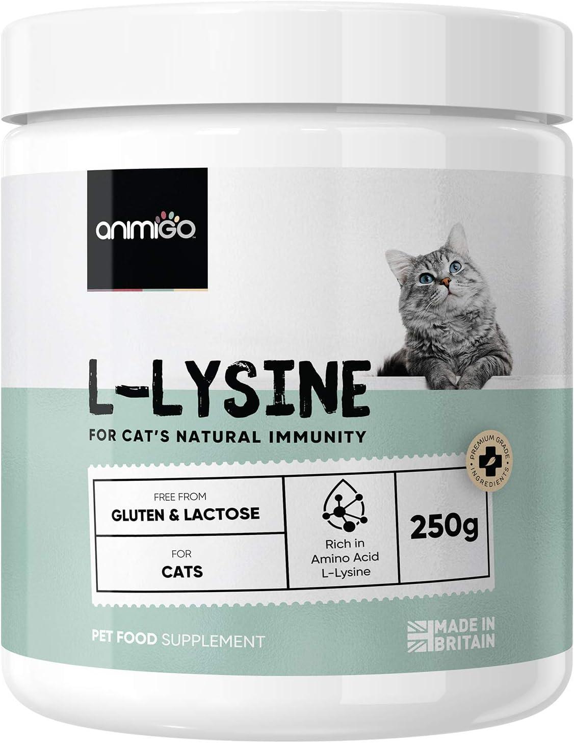 Animigo Lisina para Gatos 250g Suplemento 100% Natural para Las Defensas y el Sistema Inmune