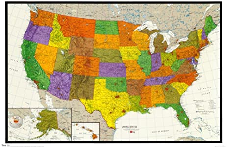 22x34 us map physical and political art poster print