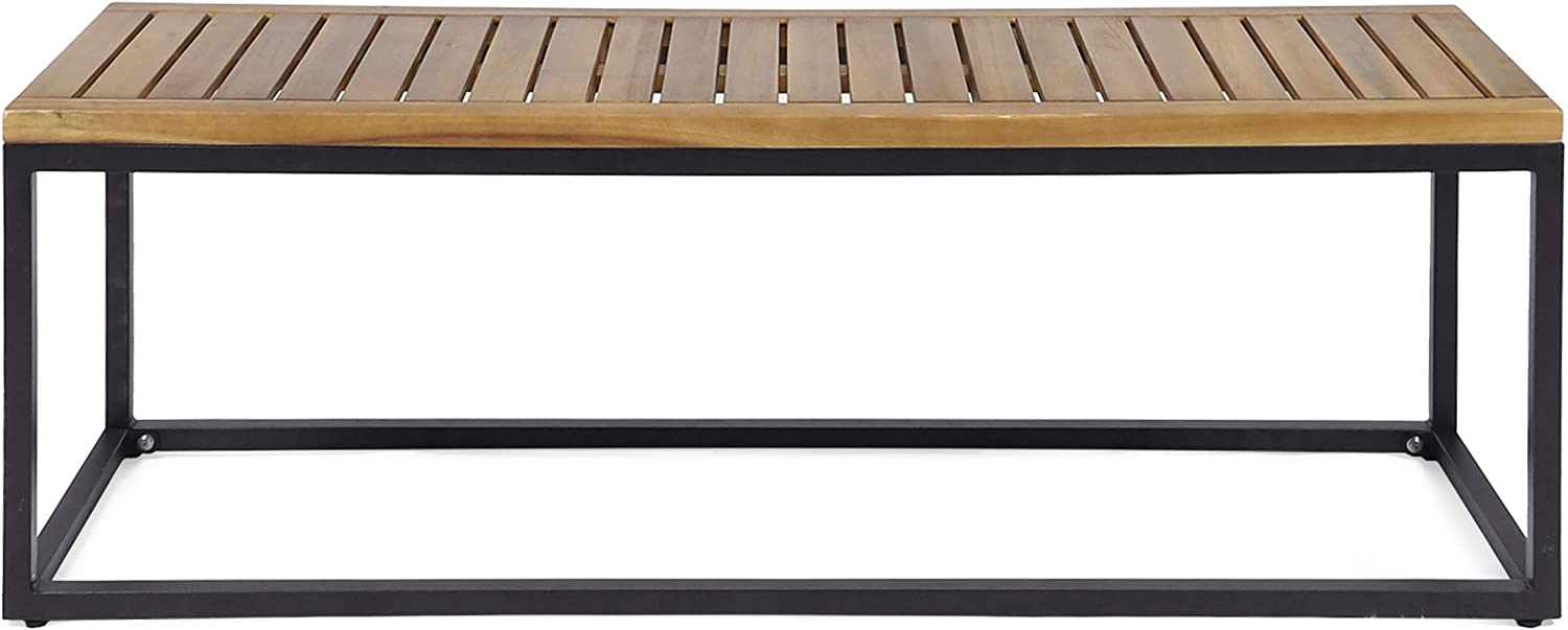 Great Deal Furniture Drew Outdoor Industrial Acacia Wood and Iron Bench, Teak and Black