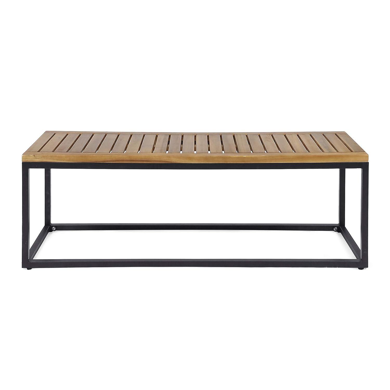 Amazon com great deal furniture drew outdoor industrial acacia wood and iron bench teak and black garden outdoor