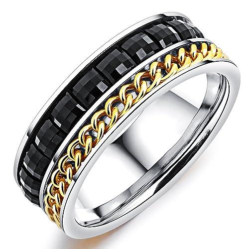 Amazon.com: Para hombre de boda banda anillo de estilo ...